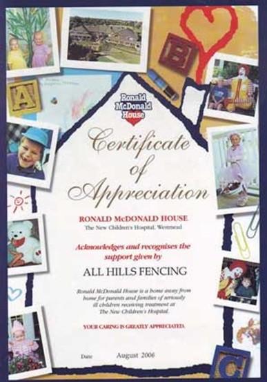 Ronald Mcdonald Cerificate