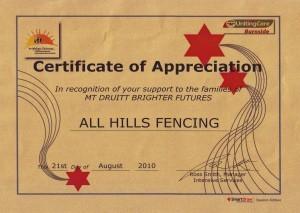 Certificate of Appreciation Blue Care