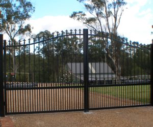 Spears and curved metal balustrade Fencing